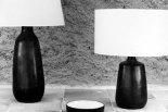 Deux lampes avec abat-jours, ravier rond (?), c. 1965.