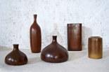 """Vases """"figues"""", rectangulaire et cylindrique, bouteille soliflore, c. 1980."""